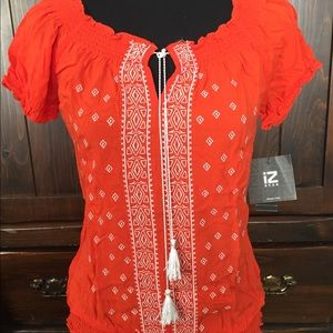Orange Women's blouse with embroidery